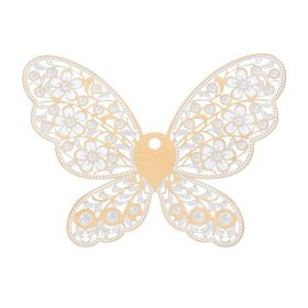 Butterfly / filigree pendant / surgical steel / 69x90x0.3mm / gold / 1pcs
