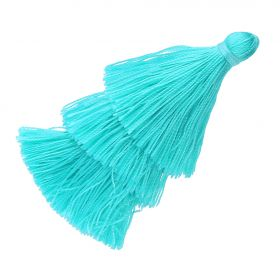 Tassel / viscose thread / triple layer / 70mm / width 7mm / blue / 1pcs