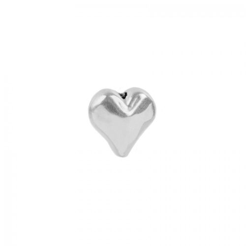 """""""X"""" Sterling Silver 925 Heart Bead Long Drilled 11mm Pk1"""