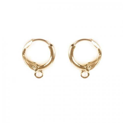 X Gold Plated Round Earring Base with Loop 11mm 1xPair