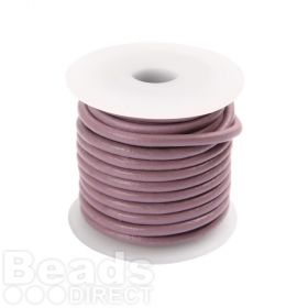 Violet Round Leather 2mm Cord 5 Metre Reel