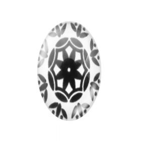 Glass cabochon with graphics 18x25mm PT1552 / black and white / 2pcs