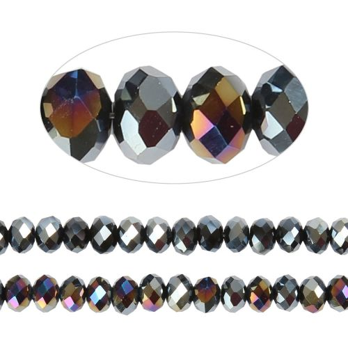 X- Essential Crystal Faceted 6mm Rondelle Jet AB 100pack