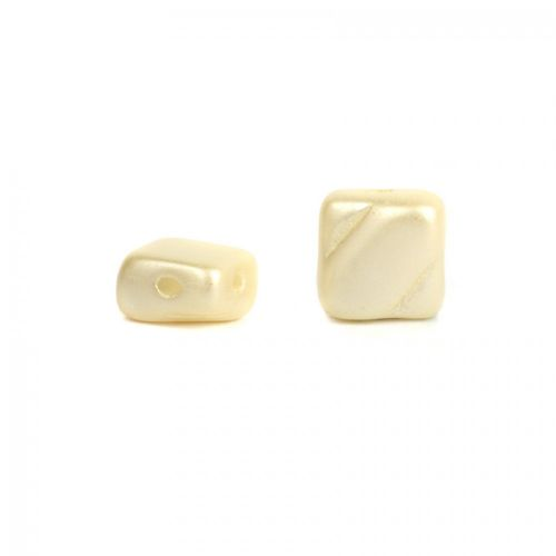 Pastel Cream Silky Glass Beads 2 Hole 6mm Pk40