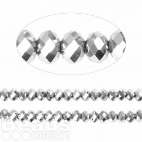 Essential Crystal Faceted 4mm Rondelle Silver AB 150pack