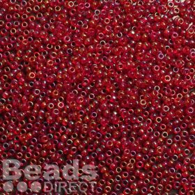 Toho Size 11 Round Seed Beads Trans-Rainbow Siam Ruby 10g