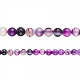 "Purple Striped Agate Round Semi Precious Beads 8mm 15"" Strand"