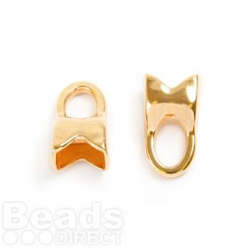 Gold Plated Zamak Cord Ends With Loop 12x22mm for 7x10mm Cord Pk2