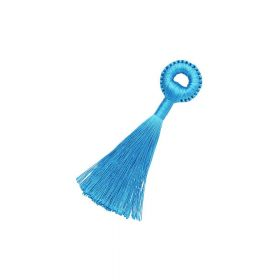 Tassel / viscose thread / braided base  / 90mm / blue / 1pcs