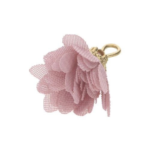 Tulle flower / with openwork tip / 18mm / Gold Plated / pink / 4 pcs