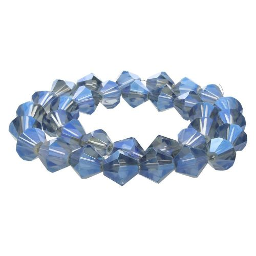 CrystaLove™ crystals / glass / bicone / 6mm / grey-blue / transparent / lustered / 48pcs