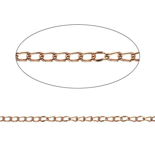 X Rose Gold Plated Steel Chain 1.7mm Pre Cut 1metre