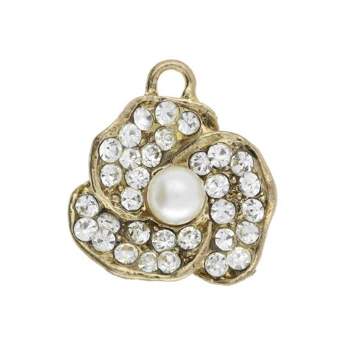 Glamm ™ Flower / charm pendant / with zircons & pearl / 19x18x6.5mm / gold plated / 1pcs