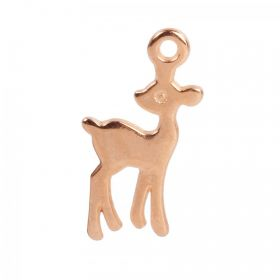Rose Gold Plated Zamak Deer Charm 12x19mm Pk1