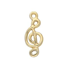 Treble clef / charm pendant / 19x8x1.5mm / gold plated / 4pcs