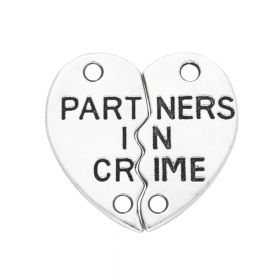 Partners in crime / heart / connector / 19x10x1.5mm / silver / 2pcs