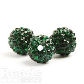 Emerald Green 10mm Essential Shamballa Fashion Round Pk3
