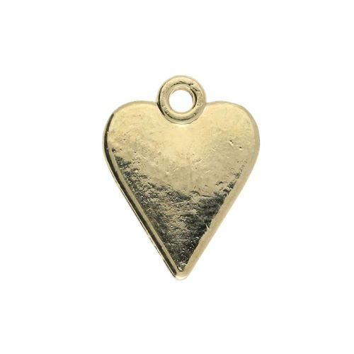 SweetCharm ™ Heart / charm pendant / 13x11x1.5mm / gold plated / red / 2pcs