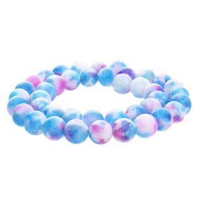 Jade / round / 12mm / blue-pink / 34pcs