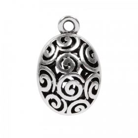 Antique Silver Plated Zamak Filigree Egg Charm 27x17mm Pk 1