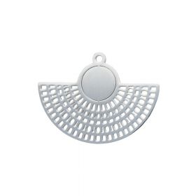 Earring base / openwork fan / surgical steel / 21x27x1mm / silver / 1pcs