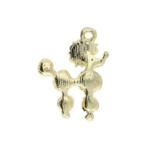 Glamm ™ Poodle / charm pendant / with zircons / 21x16x4mm / gold plated / 1pcs