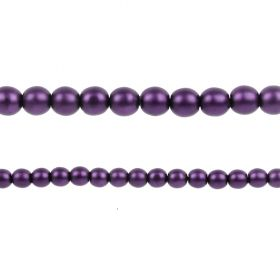 Purple Matte Czech Glass Round Pearl Beads 4mm Pk120