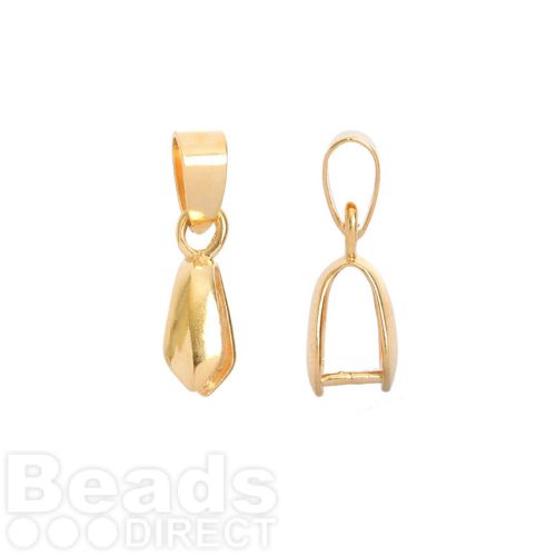 Gold Plated Pinch Bail with Loop for Large Pendant 5x9mm Pk1