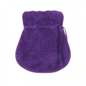 Purple Large Faux Suede Drawstring Pouch 9.5x13cm Pk1