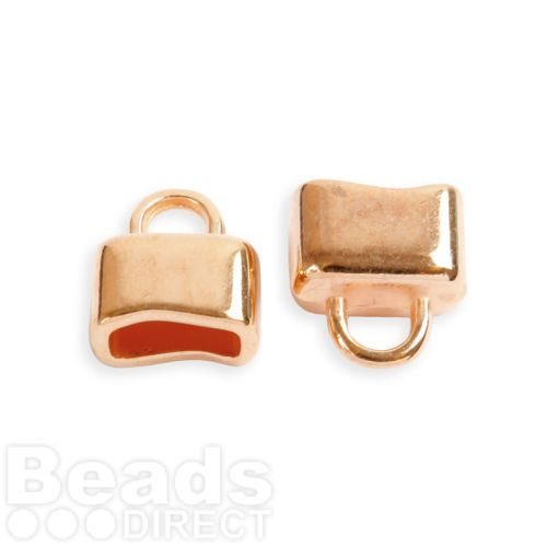 Rose Gold Plated Zamak Cord Ends with Loop 13x15 Hole-6.3x10mm Pk2
