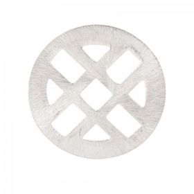 Silver Plated Brushed Criss Cross Round Pendant 27mm Pk2
