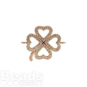 Rose Gold Plated Cubic Zirconia 4 Heart Clover 21x23mm Pk1