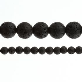 "Black Lava Rock Stone Round Beads 10mm 15"" Strand"