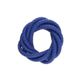 Leather cord / natural / round / braided / 6mm / deep blue / 1m
