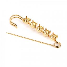 Gold Plated Brooch Base Holds 5xSS39 Chaton 75mm Pk1