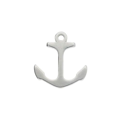 Anchor / charm / surgical steel / 11x10mm / silver / 4pcs