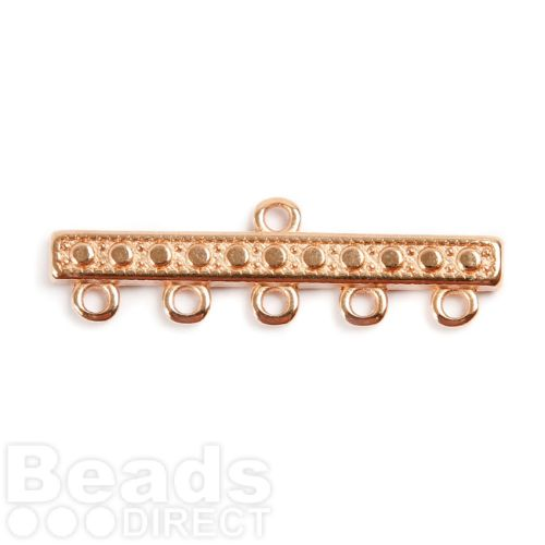 Rose Gold Plated Zamak 5 Strand Fancy Clasp 39mm 1xPair