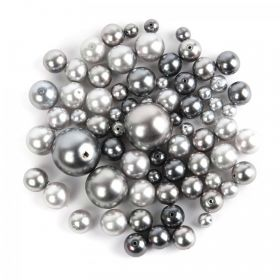 Preciosa Czech Glass Pearl Mix Round Grey Assorted Sizes 50g