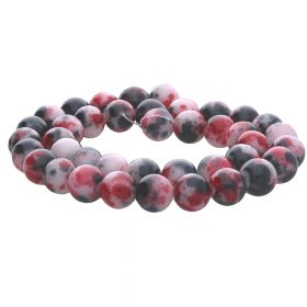 Jade / round / 10mm / black-red-white / 40pcs