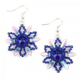 Blue and Silver Starburst Earring Take a Make Break Kit - Makes x1 Pair