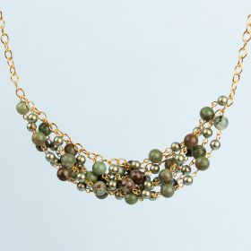 Green Opal and Gold Semi precious Swag Necklace TAMB Kit - Makes x1