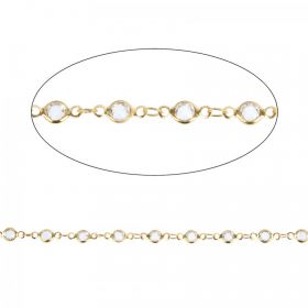 Gold Plated Clear Colour Crystal Chain 4mm Pre Cut 1 Metre Length