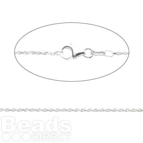 Sterling Silver 925 Twisted Rope Chain with Clasp 1.2mm 60cm