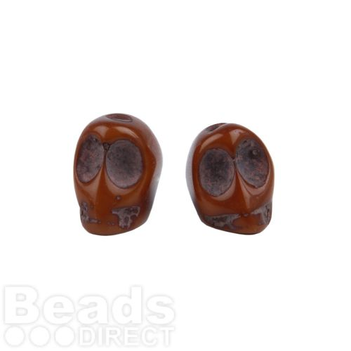 Brown Resin Skull Hand-Decorated Beads 11x8mm Pk5