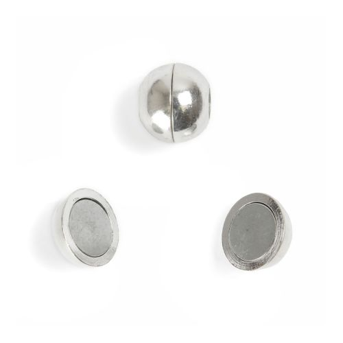 Silver Plated 10mm Magnetic Clasp for 4mm cord Pk1