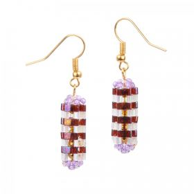 Purple & Gold Hexagonal Prism Earrings Take a Make Break Kit - Makes x5