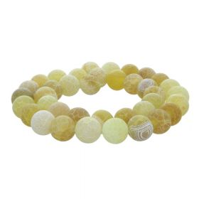 Weathered Agate / round / 10mm / yellow-beige / 38pcs