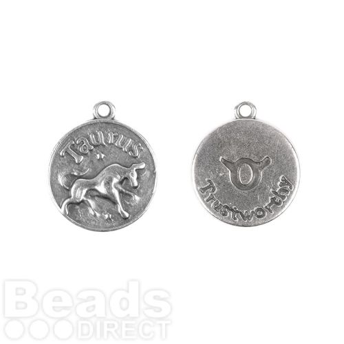 Antique Silver Zamak Zodiac Taurus Coin Charms 12mm Pk1