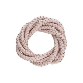 Leather cord / natural / round / braided / 4mm / powder pink / 1m