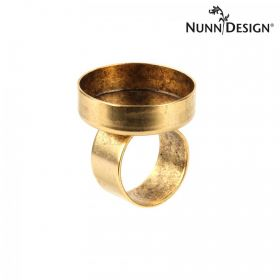 Nunn Design Antique Gold Ring Bezel Round Setting 25mm Pk1 - Adjustable